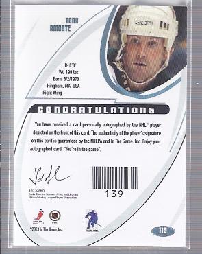 2002-03 BAP Signature Series Autographs #115 Tony Amonte SP back image