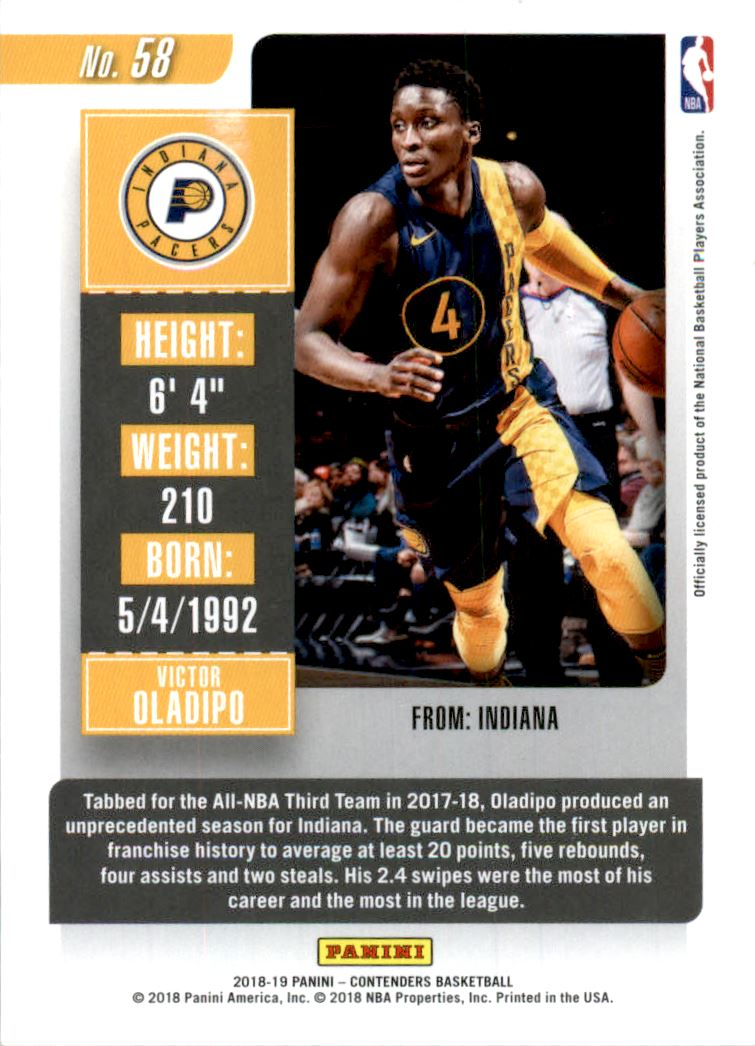2018-19 Panini Contenders Playoff Ticket #58 Victor Oladipo back image