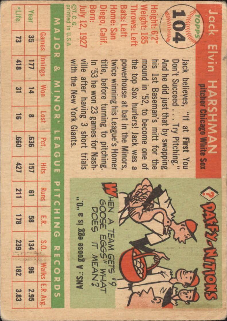1955 Topps # 104 Jack Harshman   G/VG    Chicago White Sox A10987* back image