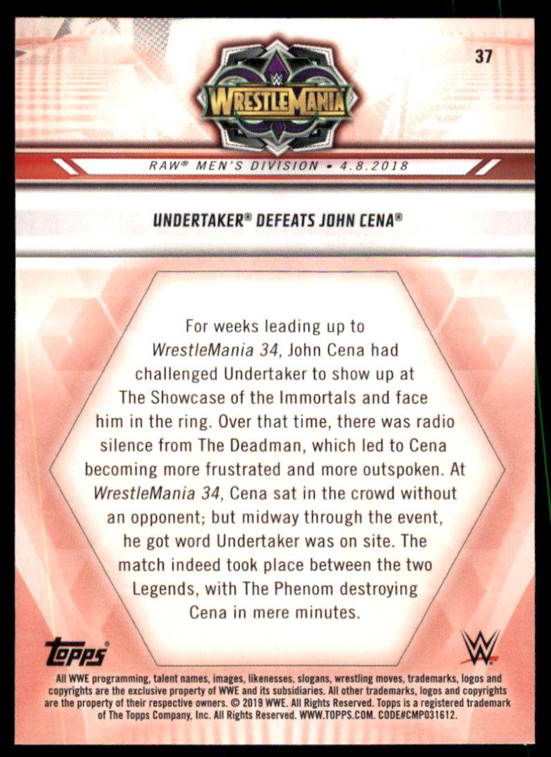 Verzamelkaarten: sport 2019 Topps WWE Road to WrestleMania #37 Undertaker Defeats John Cena