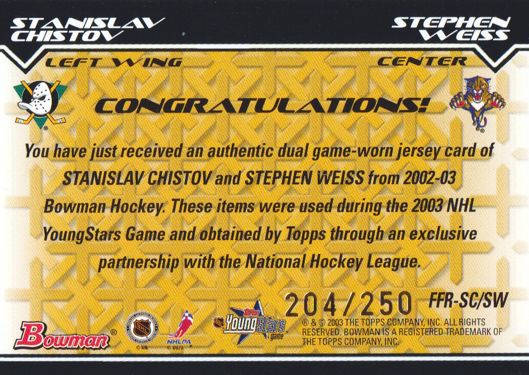 2002-03 Bowman YoungStars Rivals #SCSW Stanislav Chistov/Stephen Weiss back image