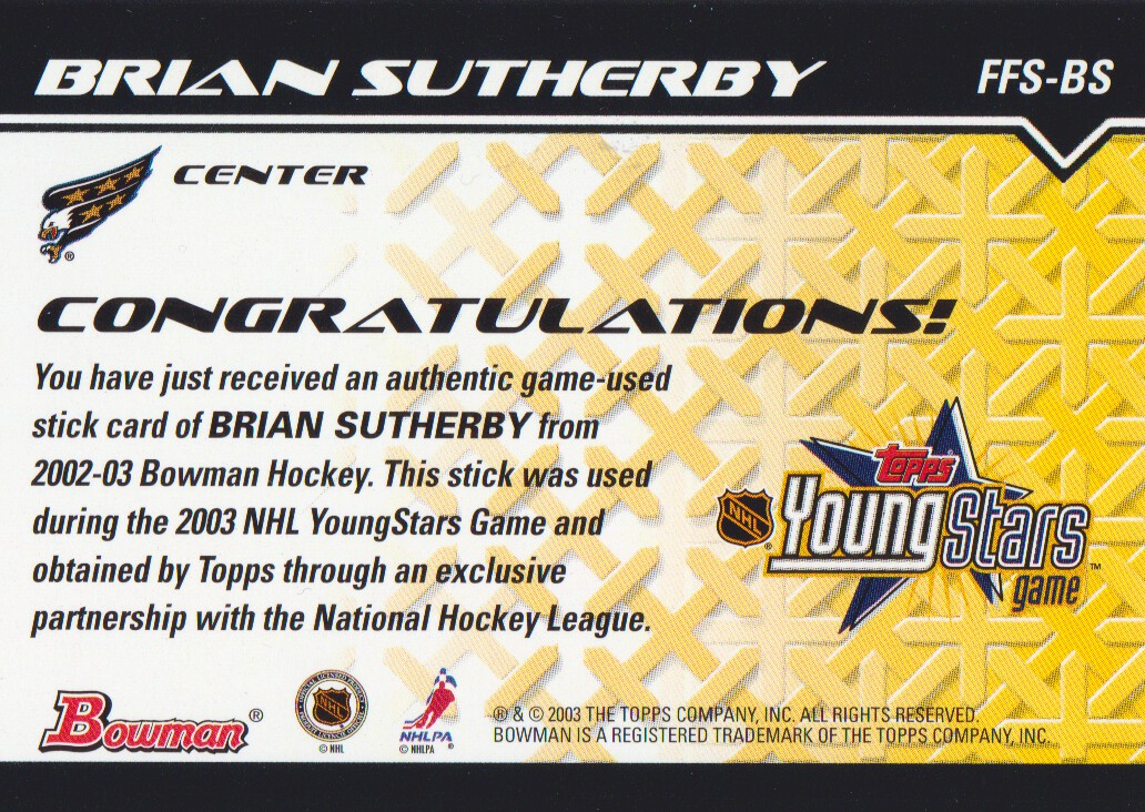 2002-03 Bowman YoungStars Sticks #BS Brian Sutherby back image