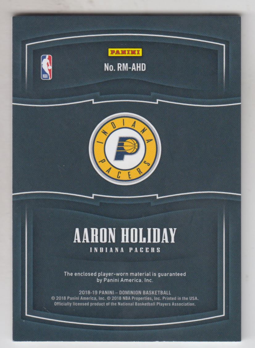 2018-19 Panini Dominion Rookie Materials #35 Aaron Holiday back image