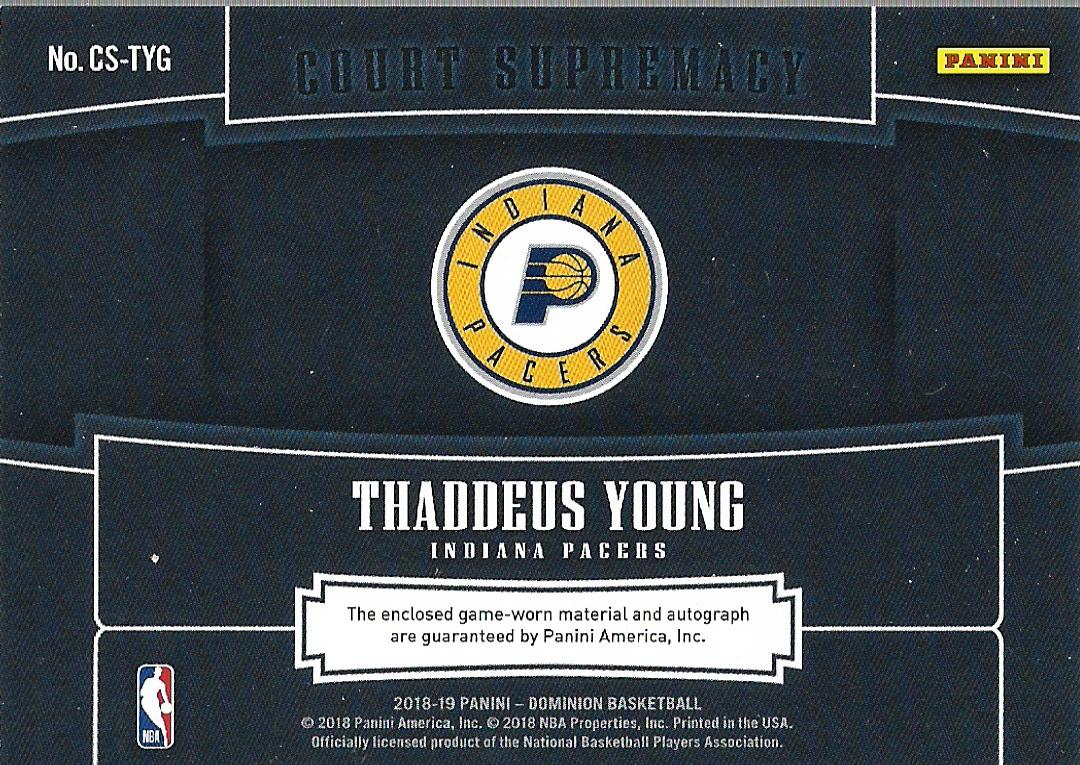 2018-19 Panini Dominion Court Supremacy Material Signatures #25 Thaddeus Young/49 back image