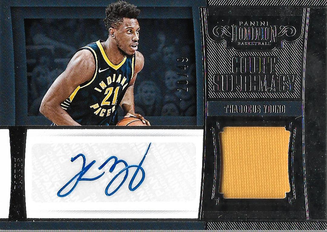 2018-19 Panini Dominion Court Supremacy Material Signatures #25 Thaddeus Young/49
