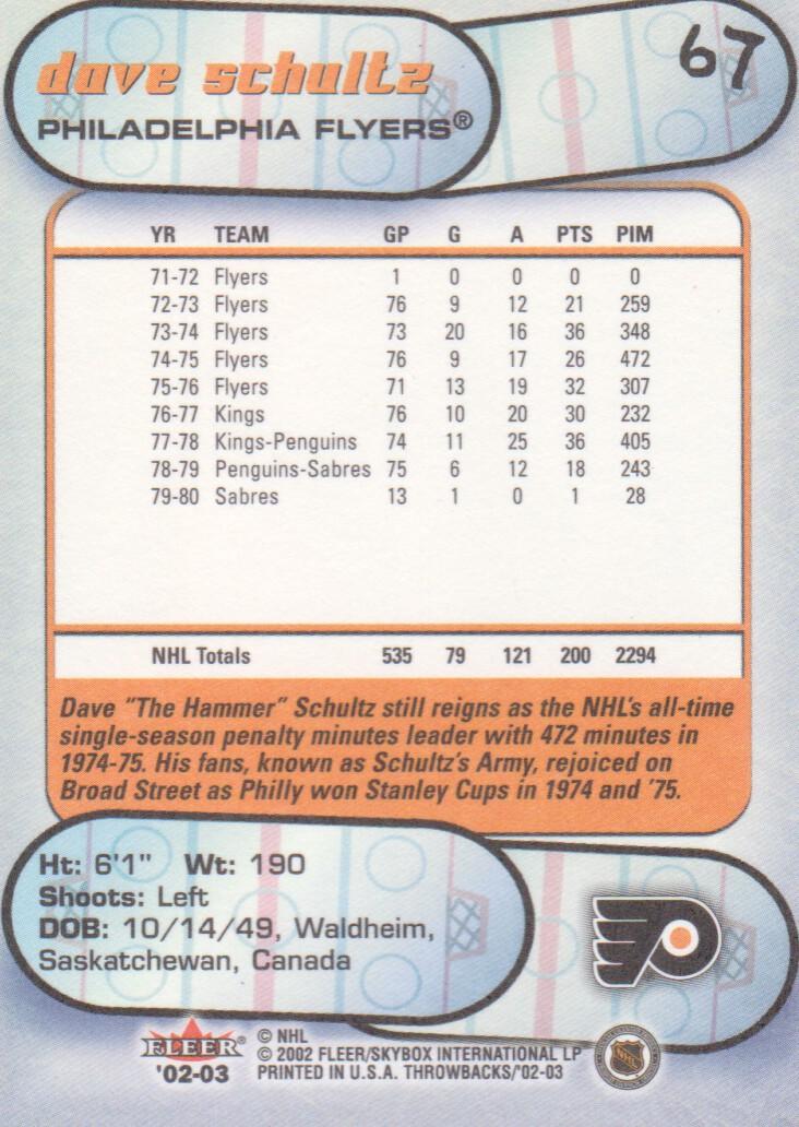 2002-03 Fleer Throwbacks #67 Dave Schultz back image