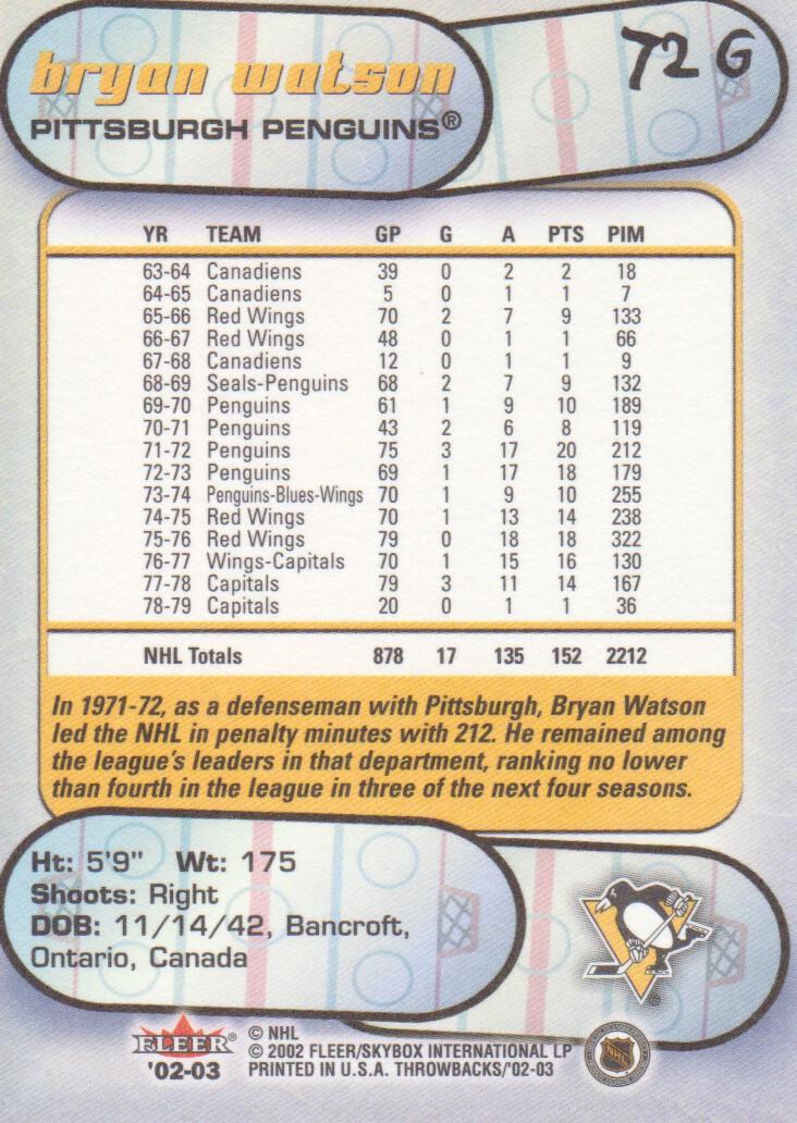 2002-03 Fleer Throwbacks Gold #72 Bryan Watson back image