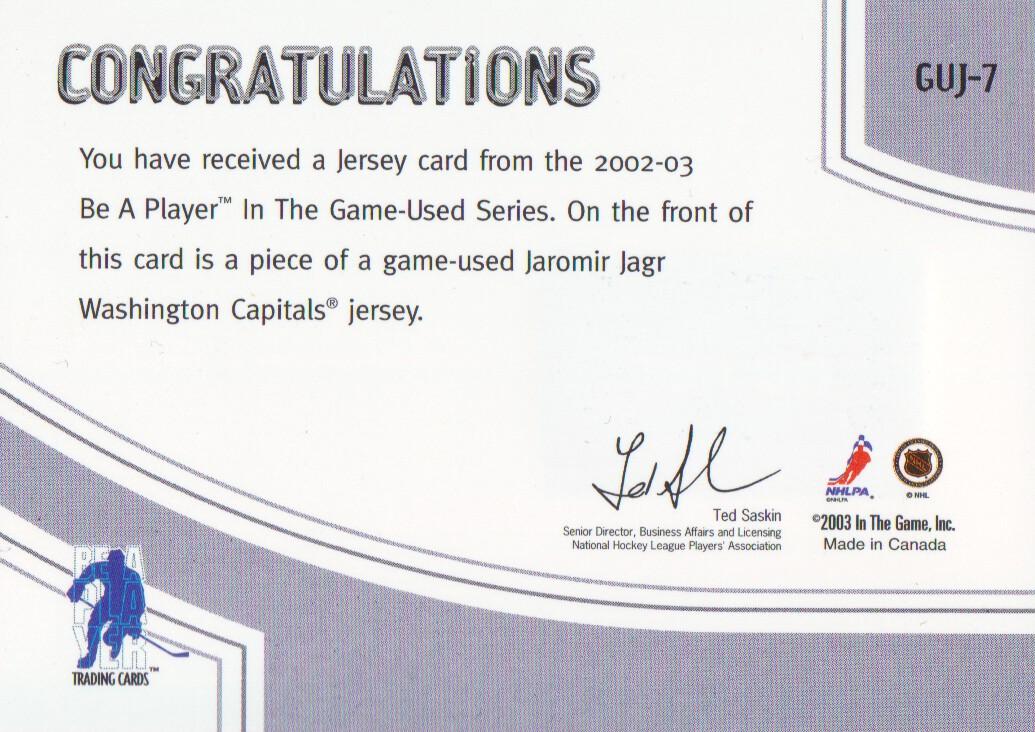 2002-03 ITG Used Jerseys #GUJ7 Jaromir Jagr back image