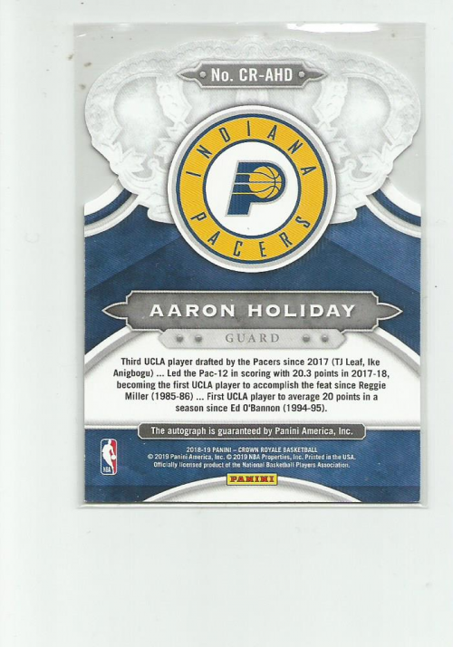 2018-19 Crown Royale Crown Autographs Rookies #21 Aaron Holiday back image