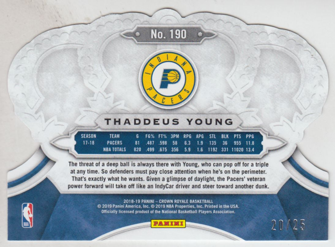 2018-19 Crown Royale Crystal Purple #190 Thaddeus Young back image