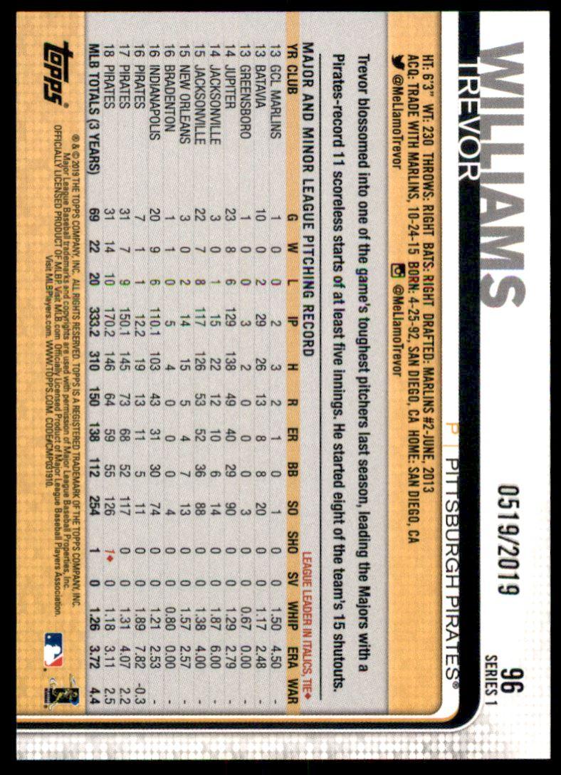 2019 Topps Gold #96 Trevor Williams back image