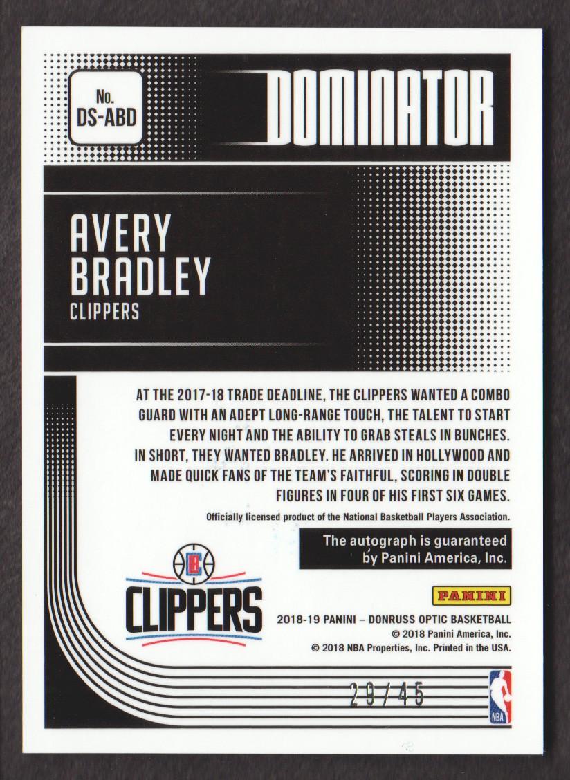 2018-19 Donruss Optic Dominator Signatures #3 Avery Bradley/45 back image