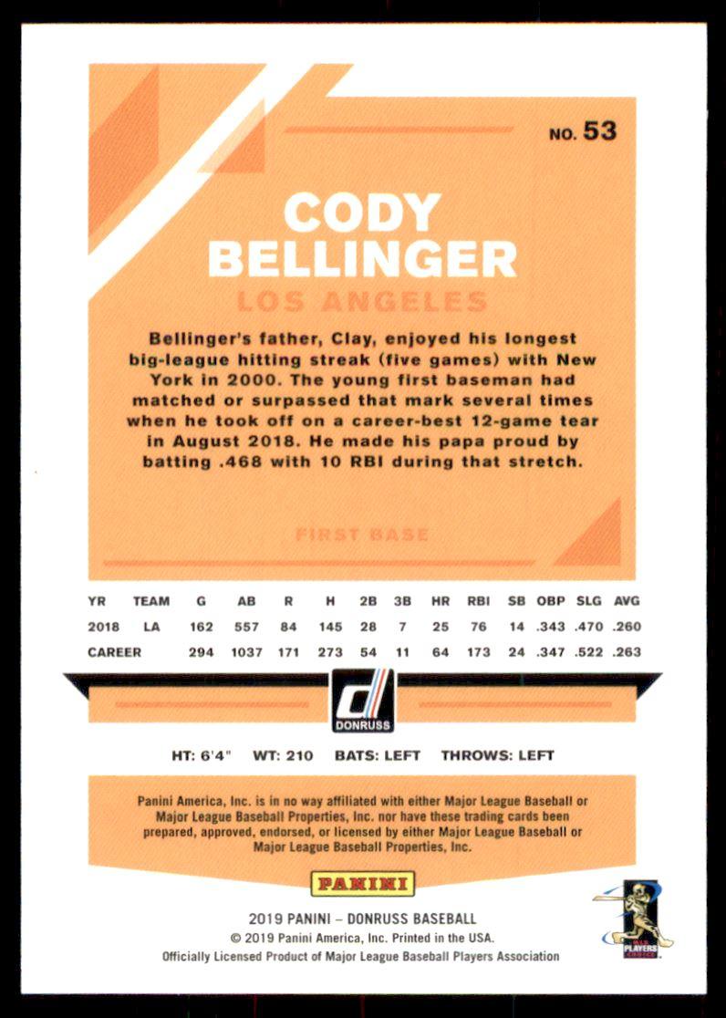 2019 Donruss Season Stat Line #53 Cody Bellinger/145 back image