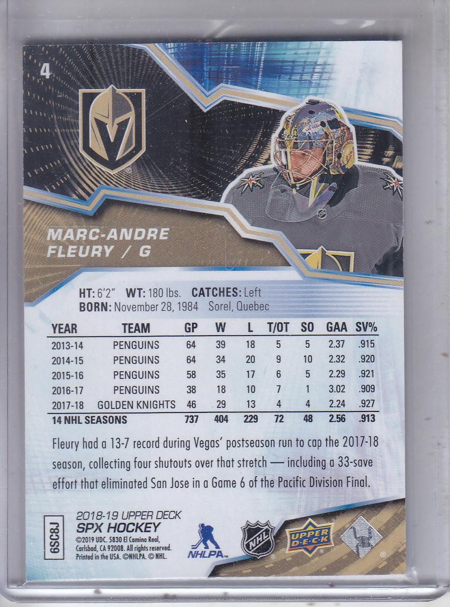 2018-19 SPx #4 Marc-Andre Fleury back image