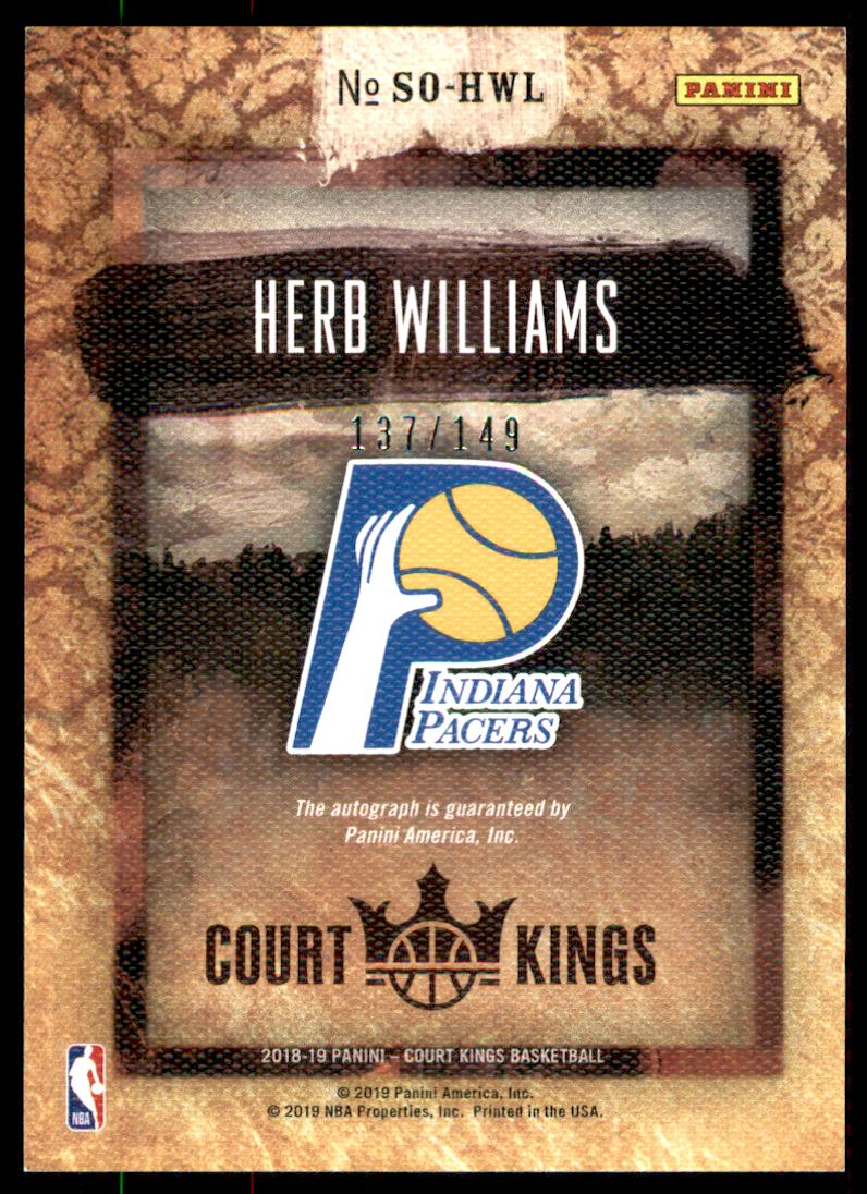 2018-19 Court Kings Sovereign Signatures #4 Herb Williams/149 back image