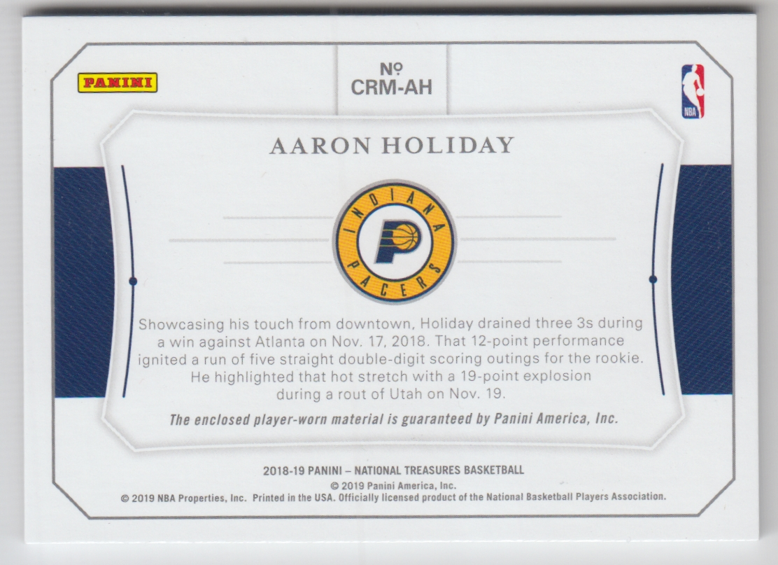 2018-19 Panini National Treasures Colossal Rookie Materials #22 Aaron Holiday back image