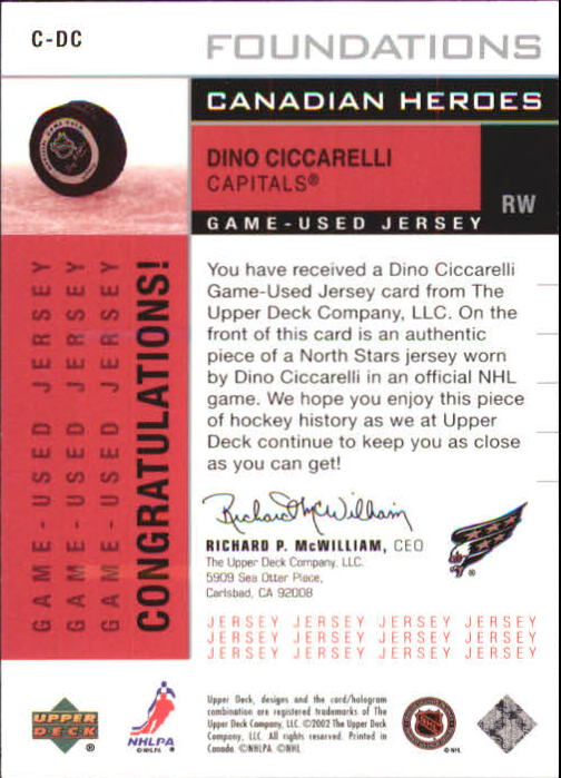 2002-03 Upper Deck Foundations Canadian Heroes Silver #CDC Dino Ciccarelli back image