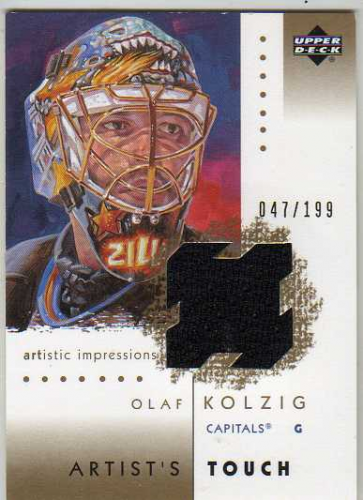 2002-03 UD Artistic Impressions Artist's Touch Jerseys Gold #ATOK Olaf Kolzig