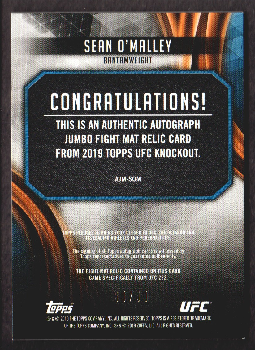 2019 Topps UFC Knockout Autographed Fight Mat Relics #AJMSOM Sean O'Malley back image