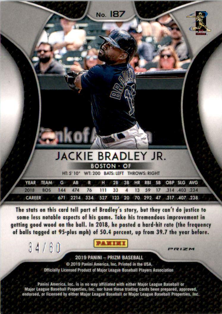 2019 Panini Prizm Prizms Blue Wave #187 Jackie Bradley Jr. back image