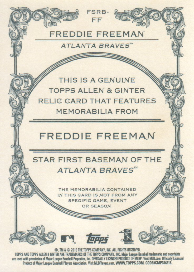 2019 Topps Allen and Ginter Relics #FSRBFF Freddie Freeman B back image