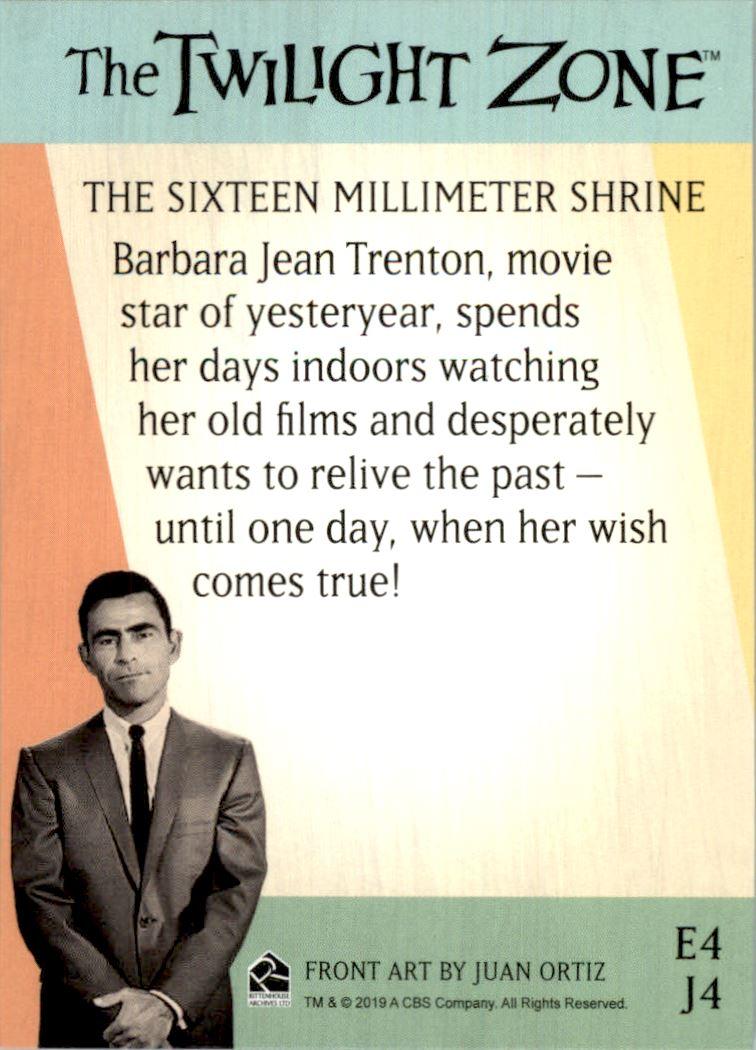 2019 Twilight Zone Rod Serling Edition Twilight Zone Portfolio Prints The Serling Episodes #J4 The Sixteen-Millimeter Shrine back image