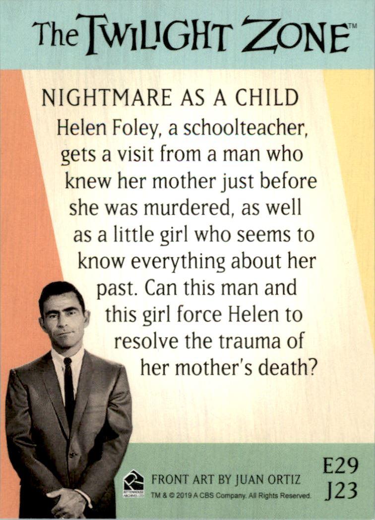 2019 Twilight Zone Rod Serling Edition Twilight Zone Portfolio Prints The Serling Episodes #J23 Nightmare As A Child back image