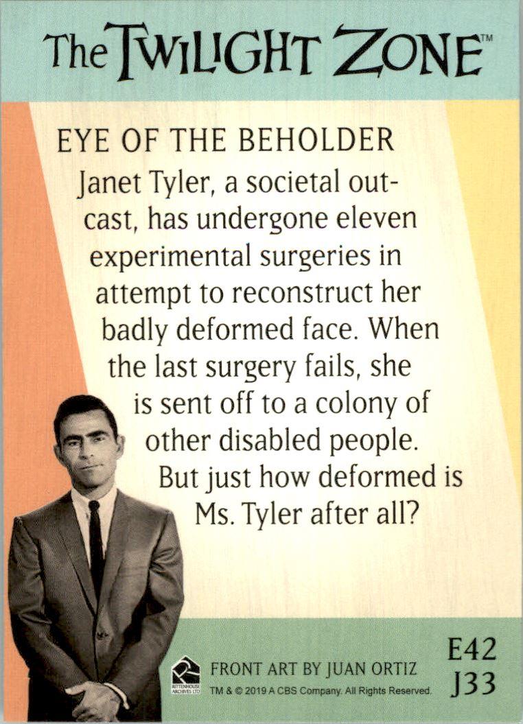 2019 Twilight Zone Rod Serling Edition Twilight Zone Portfolio Prints The Serling Episodes #J33 Eye Of The Beholder back image