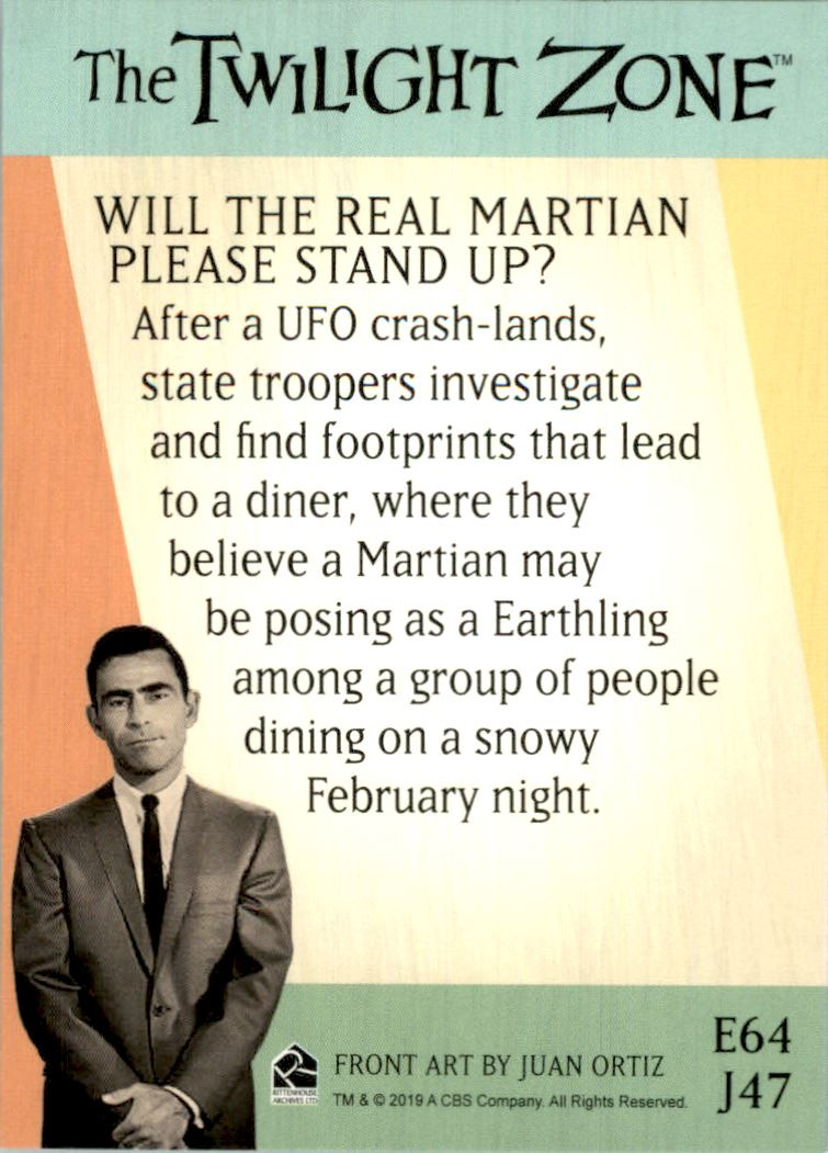 2019 Twilight Zone Rod Serling Edition Twilight Zone Portfolio Prints The Serling Episodes #J47 Will The Real Martian Please Stand Up? back image