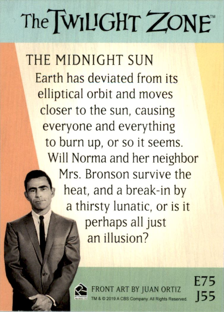 2019 Twilight Zone Rod Serling Edition Twilight Zone Portfolio Prints The Serling Episodes #J55 The Midnight Sun back image
