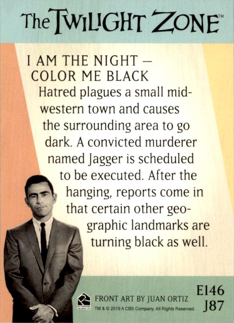 2019 Twilight Zone Rod Serling Edition Twilight Zone Portfolio Prints The Serling Episodes #J87 I Am The Night � Color Me Black back image