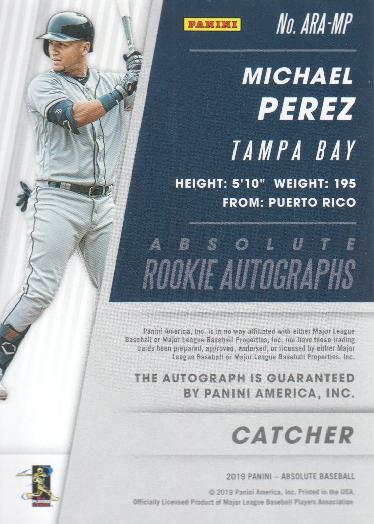 2019 Absolute Rookie Autographs Holo Silver #11 Michael Perez back image