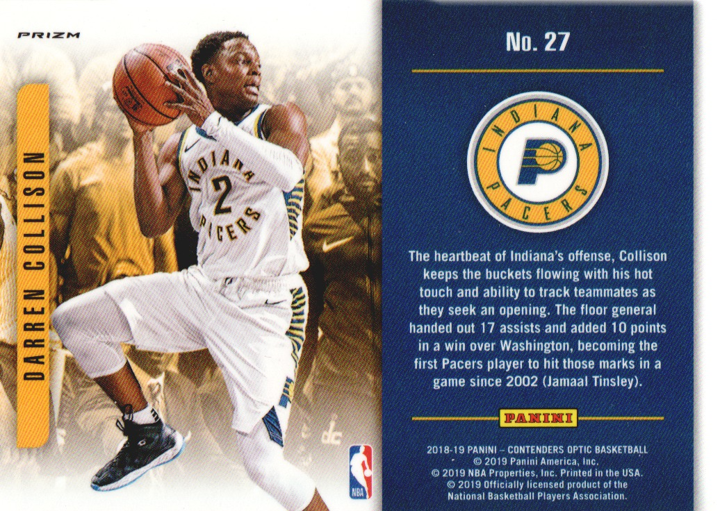 2018-19 Panini Contenders Optic Playing the Numbers Game #27 Darren Collison back image