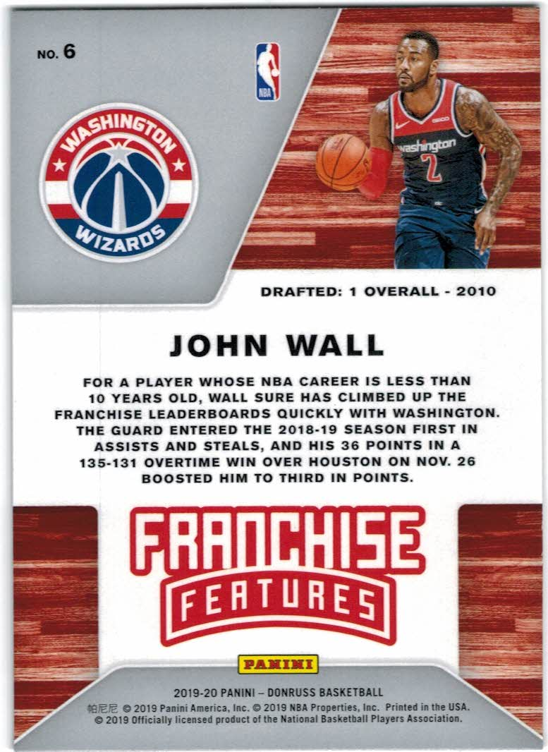 2019-20 Donruss Franchise Features #6 John Wall back image