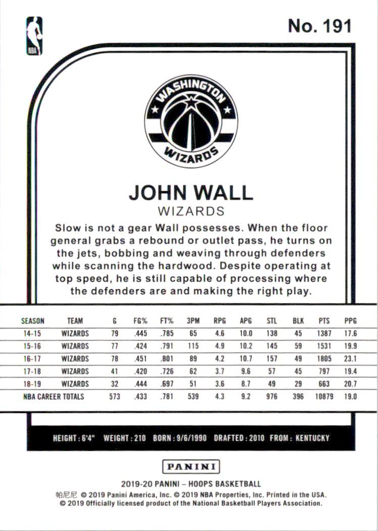 2019-20 Hoops Orange Explosion #191 John Wall back image