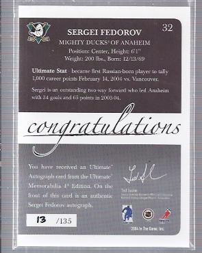 2003-04 BAP Ultimate Memorabilia Autographs #32 Sergei Fedorov back image