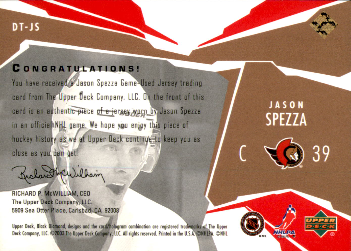 2003-04 Black Diamond Threads Red #DTJS Jason Spezza back image
