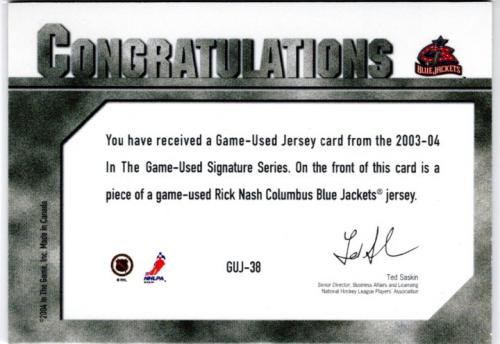 2003-04 ITG Used Signature Series Jerseys #38 Rick Nash back image