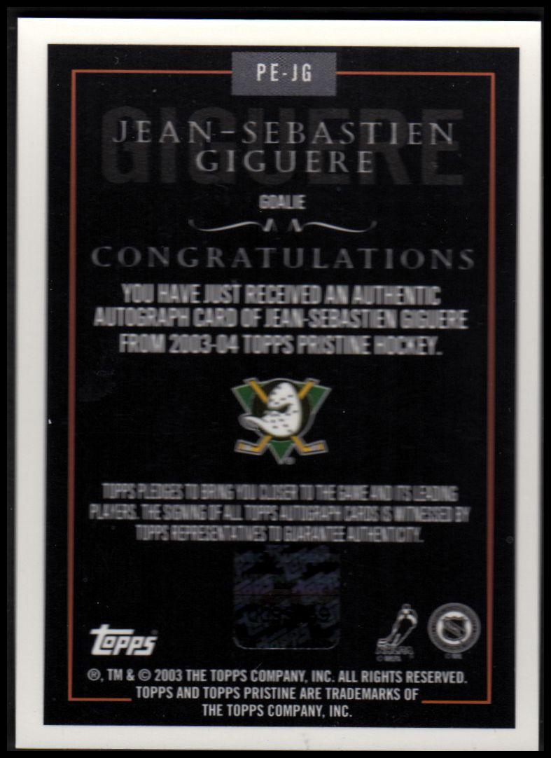 2003-04 Topps Pristine Autographs #PEJG Jean-Sebastien Giguere A back image