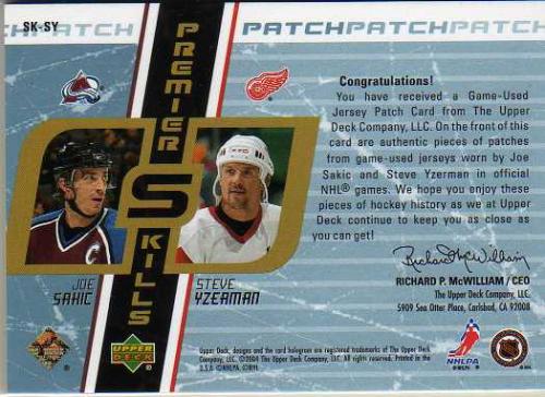 2003-04 UD Premier Collection Skills Jerseys Patches #SKSY Joe Sakic/Steve Yzerman back image