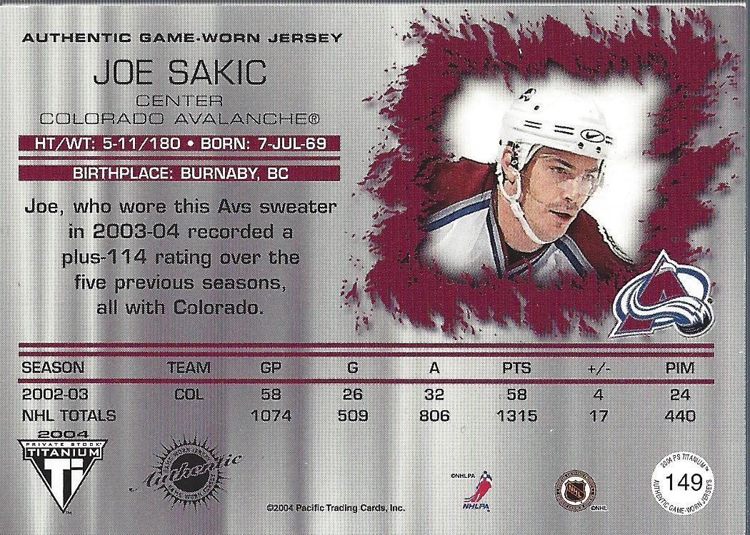 2003-04 Titanium #149 Joe Sakic JSY back image