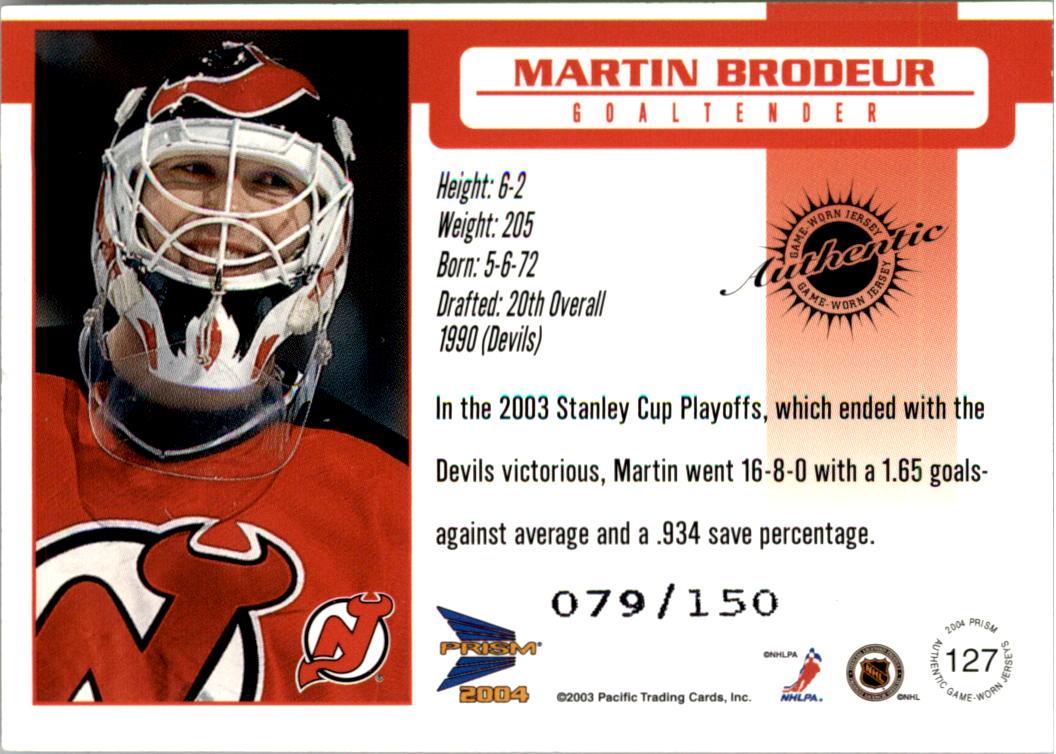 2003-04 Pacific Prism Retail Jerseys #127 Martin Brodeur back image