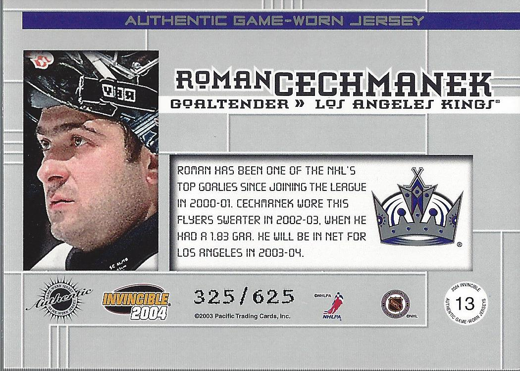 2003-04 Pacific Invincible Jerseys #13 Roman Cechmanek back image