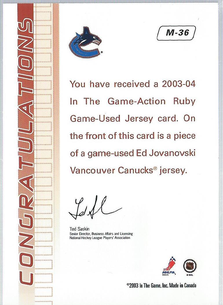 2003-04 ITG Action Jerseys #M36 Ed Jovanovski back image