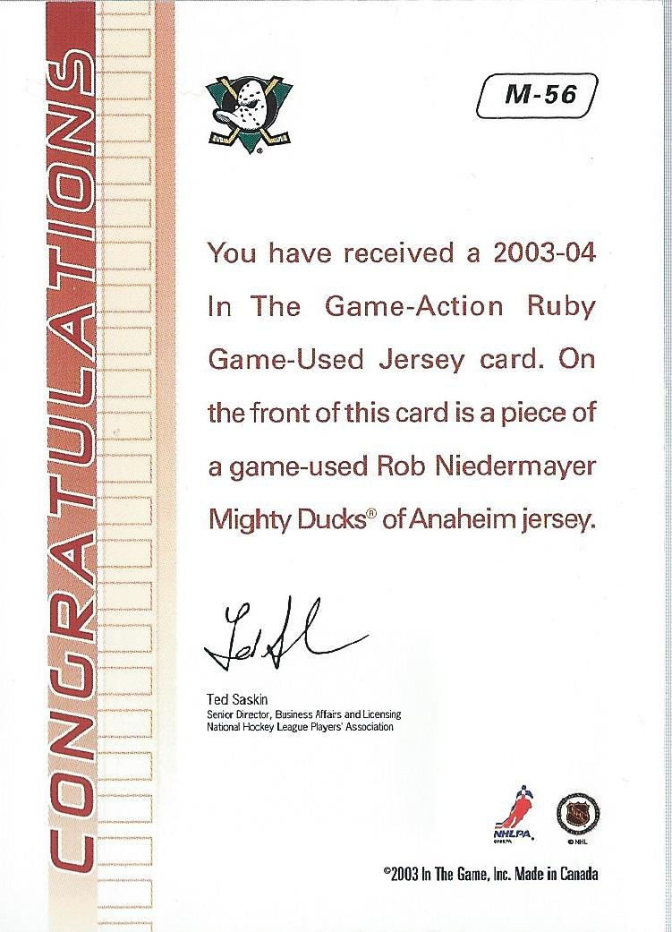 2003-04 ITG Action Jerseys #M56 Rob Niedermayer back image