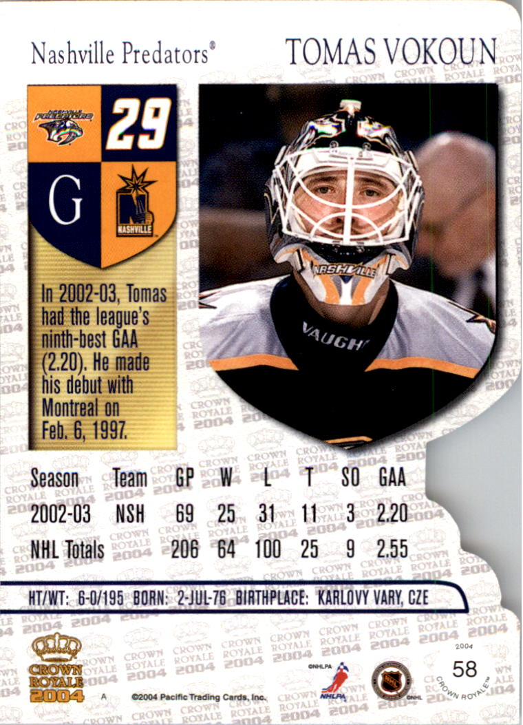2003-04 Crown Royale #58 Tomas Vokoun back image