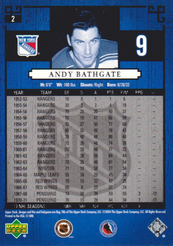 2004-05 UD Legends Classics #2 Andy Bathgate back image