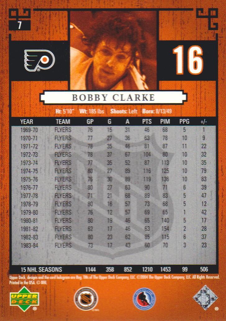 2004-05 UD Legends Classics #7 Bobby Clarke back image