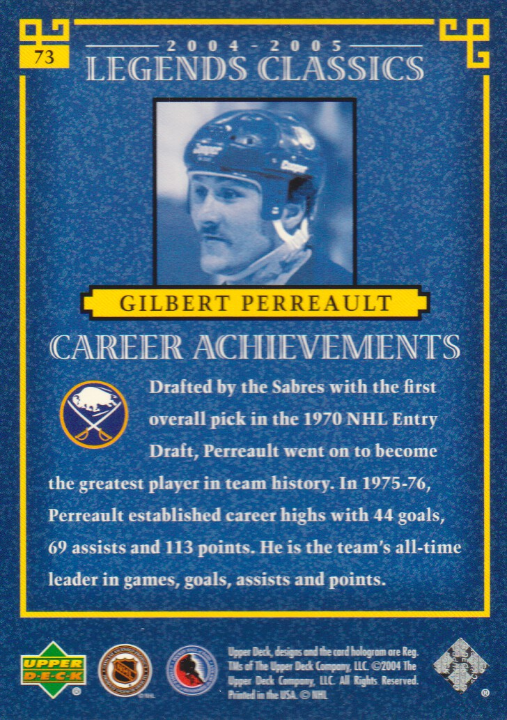 2004-05 UD Legends Classics #73 Gilbert Perreault back image