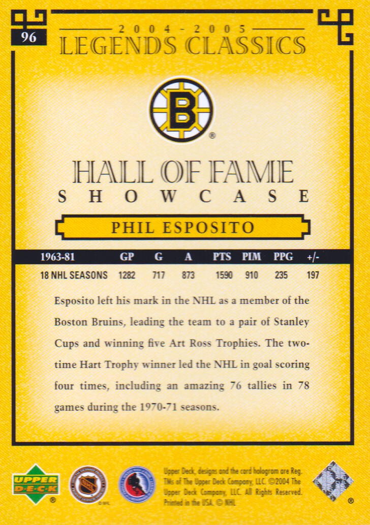 2004-05 UD Legends Classics #96 Phil Esposito back image